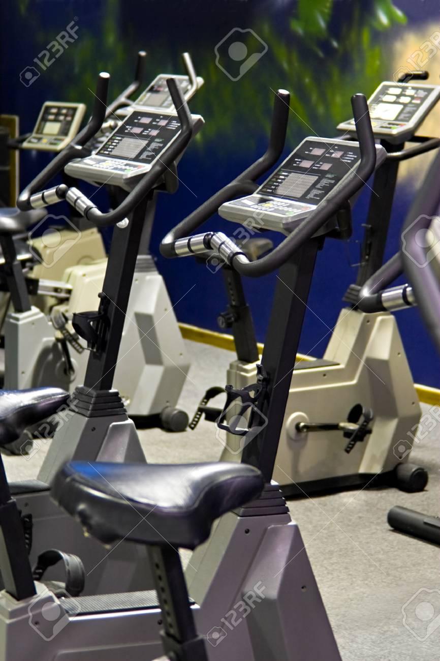 Fitness centre, health bikes, spinning studio. Stock Photo - 1091359