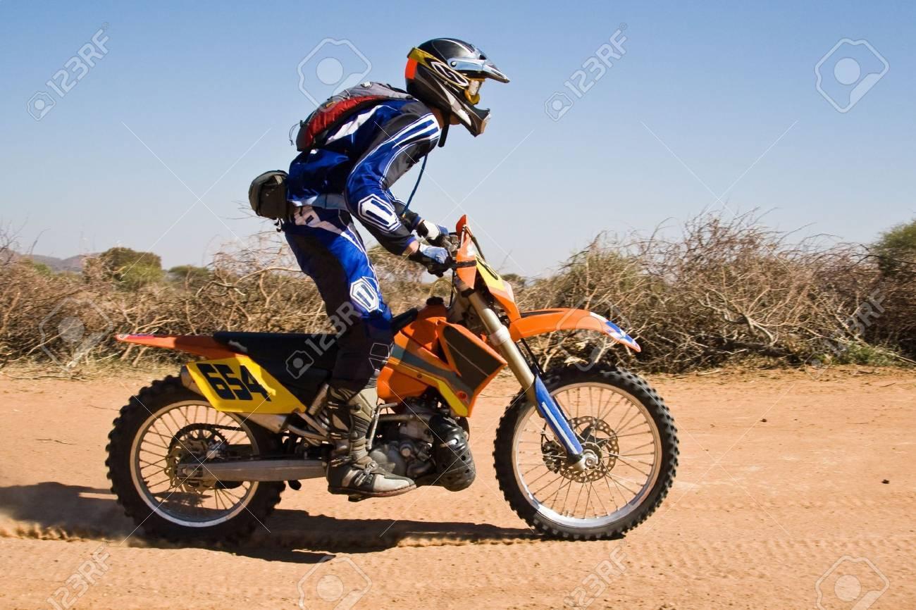 Bike riders in the Botswana Kalahari Desert Race 1000, sport series Stock Photo - 1091400