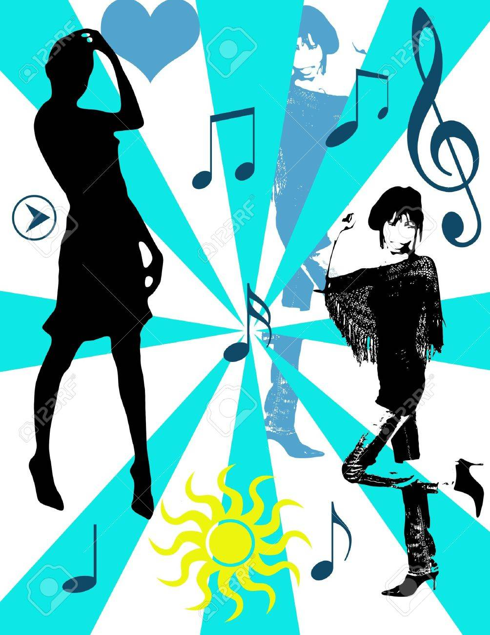 Girls dancing and musical notes, pop art background Stock Photo - 2113412