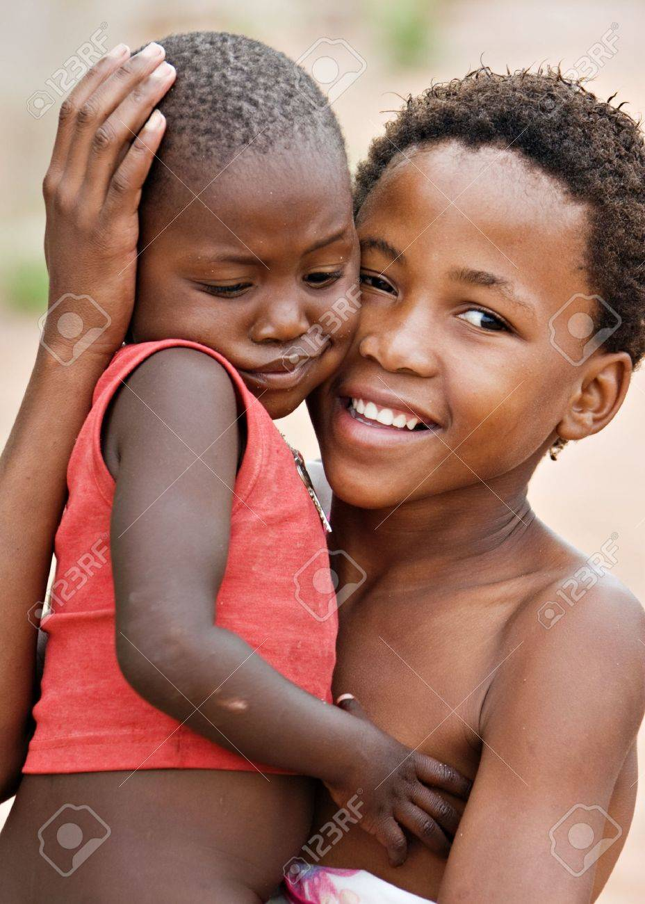 African children brother and sister, social issues, poverty, village near Kalahari desert Stock Photo - 2863300