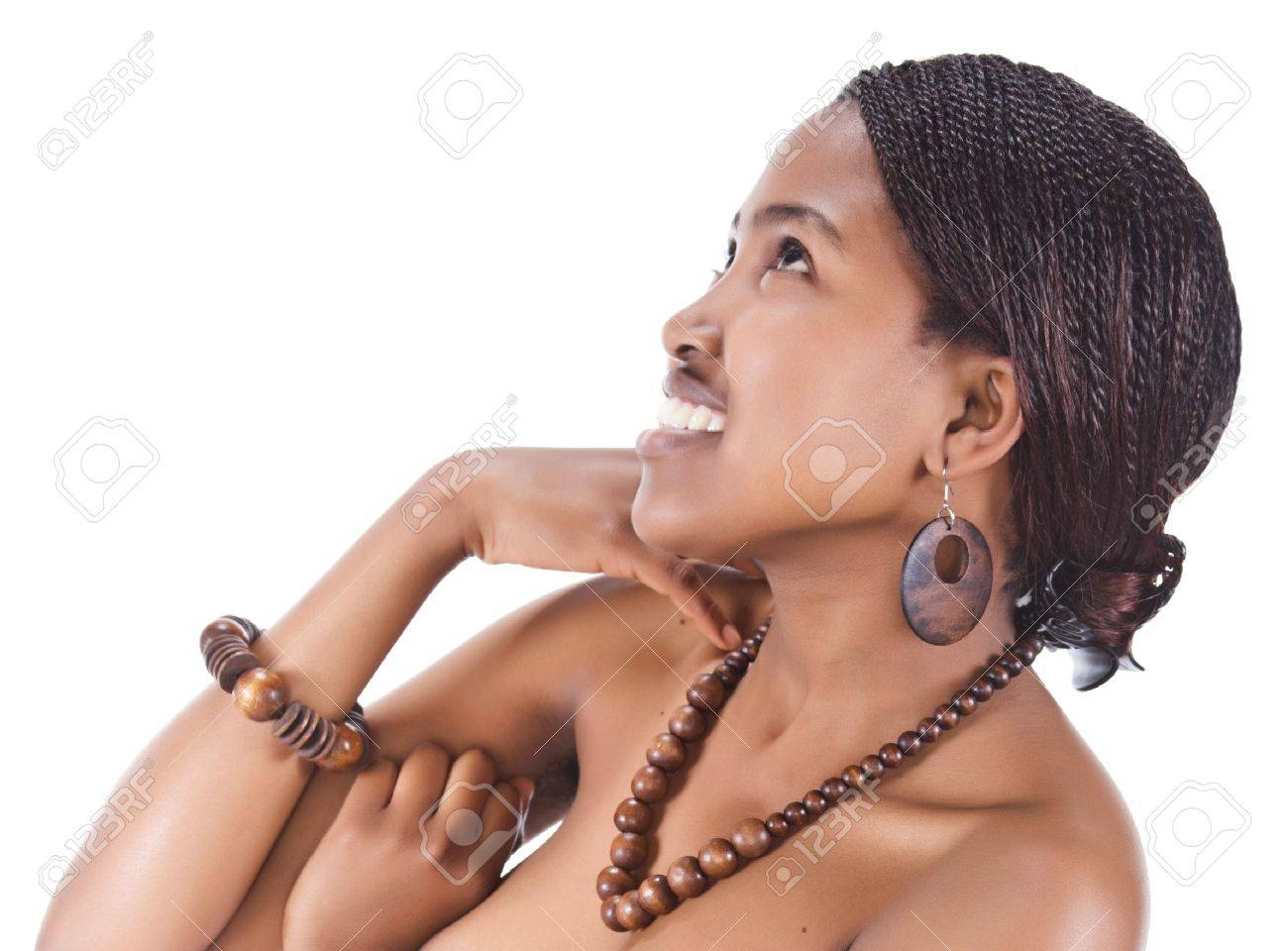 Portrait of a beautiful African girl with braids and necklace beads Stock Photo - 4117858