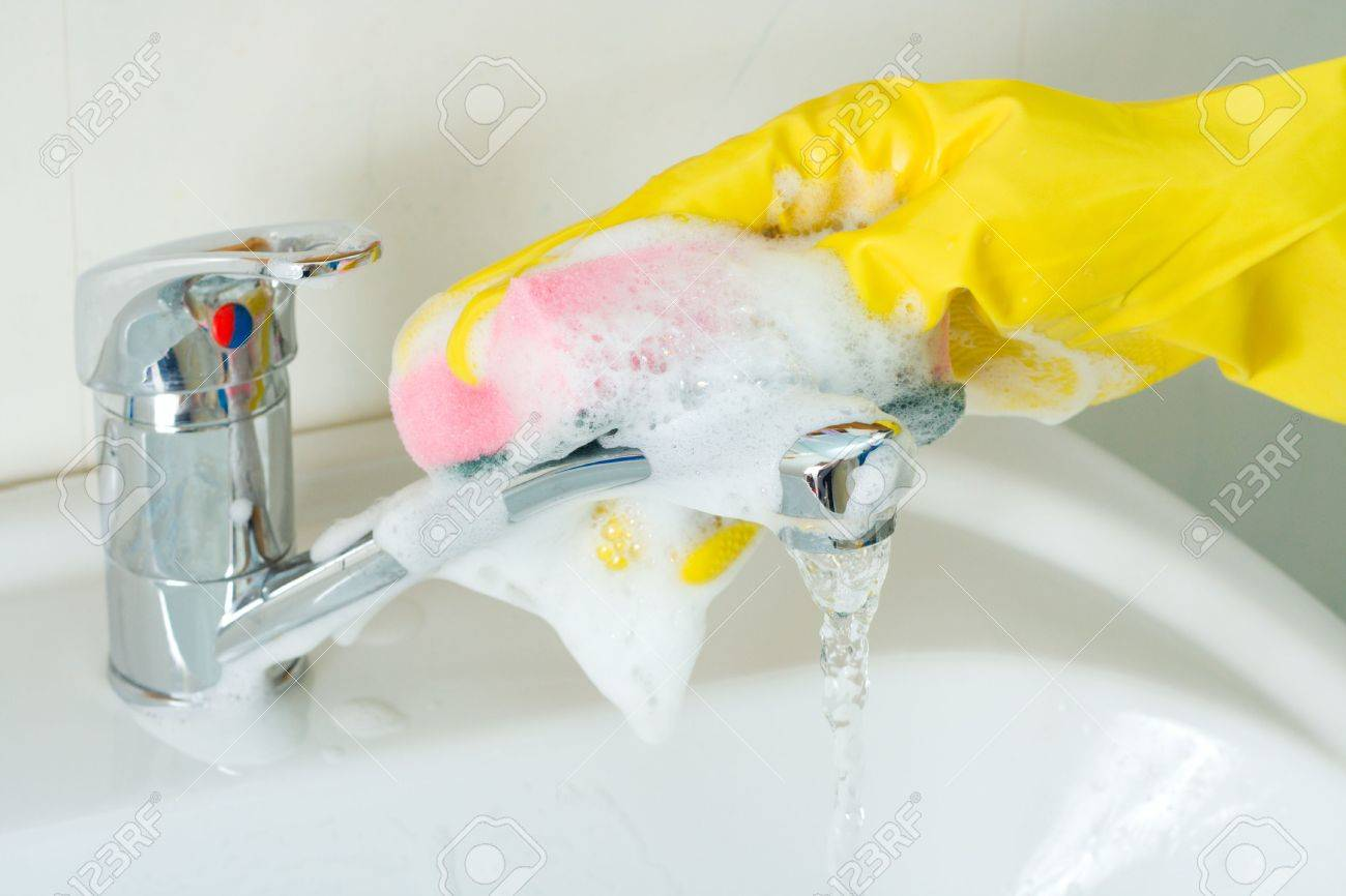 Disinfection and sanitary clearing of a sink Stock Photo - 3801542