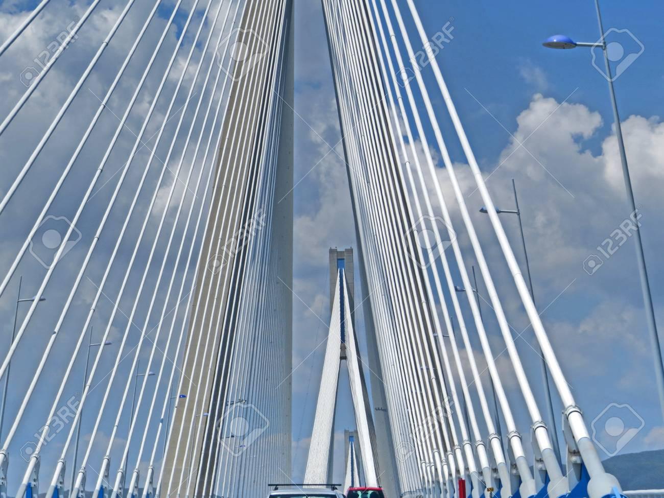 Antirrio bridge or Charilaos Trikoupis Bridge Stock Photo - 80610597