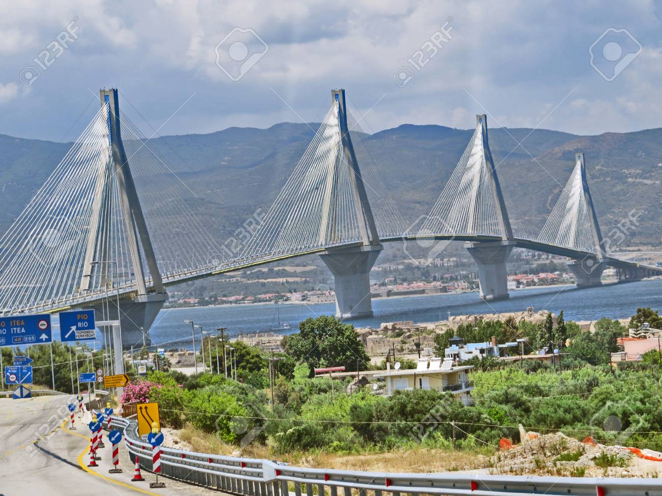 Antirrio bridge or Charilaos Trikoupis Bridge Stock Photo - 80610604