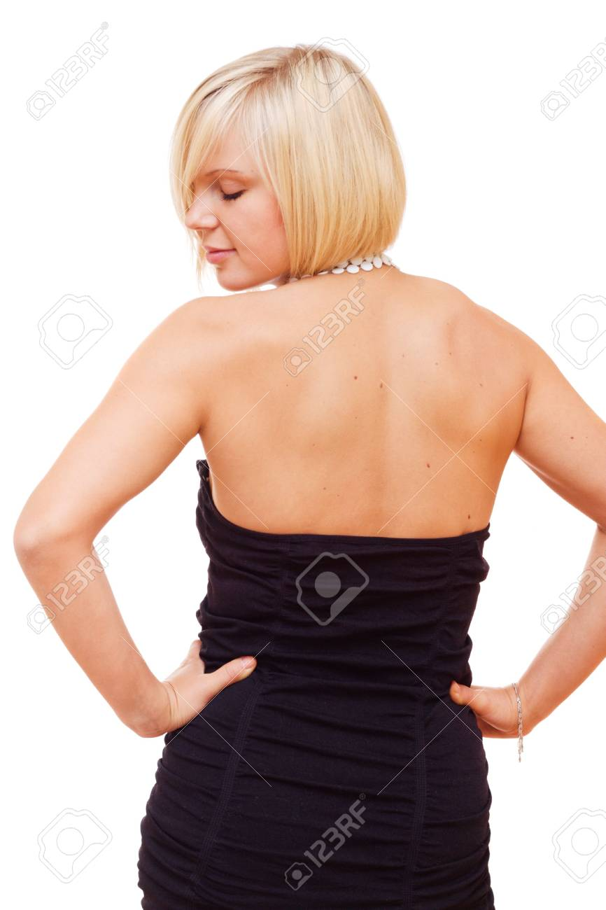 Pretty blonde girl looking back on white background Stock Photo - 3583904