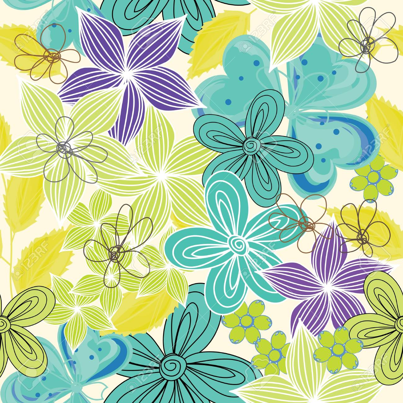 Abstract flower seamless pattern background Stock Vector - 13728757