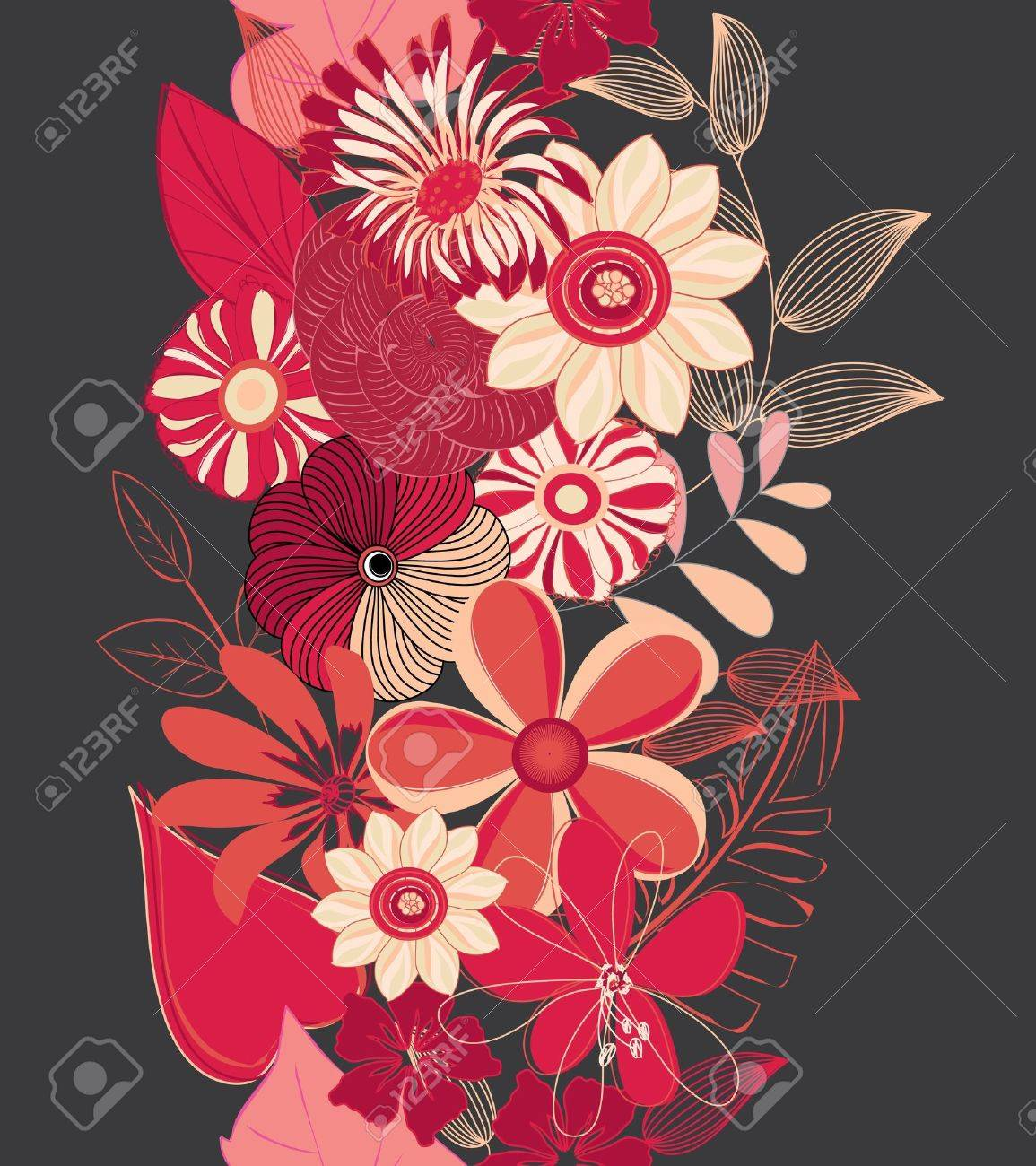 Abstract vertical flower seamless pattern background Stock Vector - 14989172
