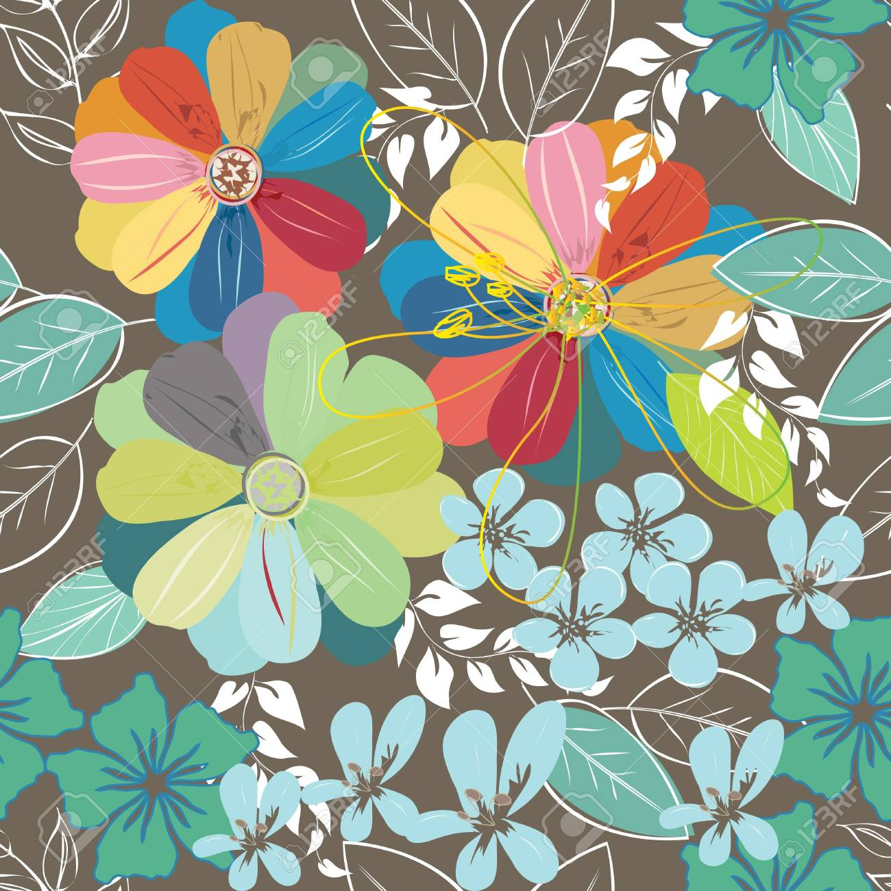 Abstract flower seamless pattern background Stock Vector - 21570597