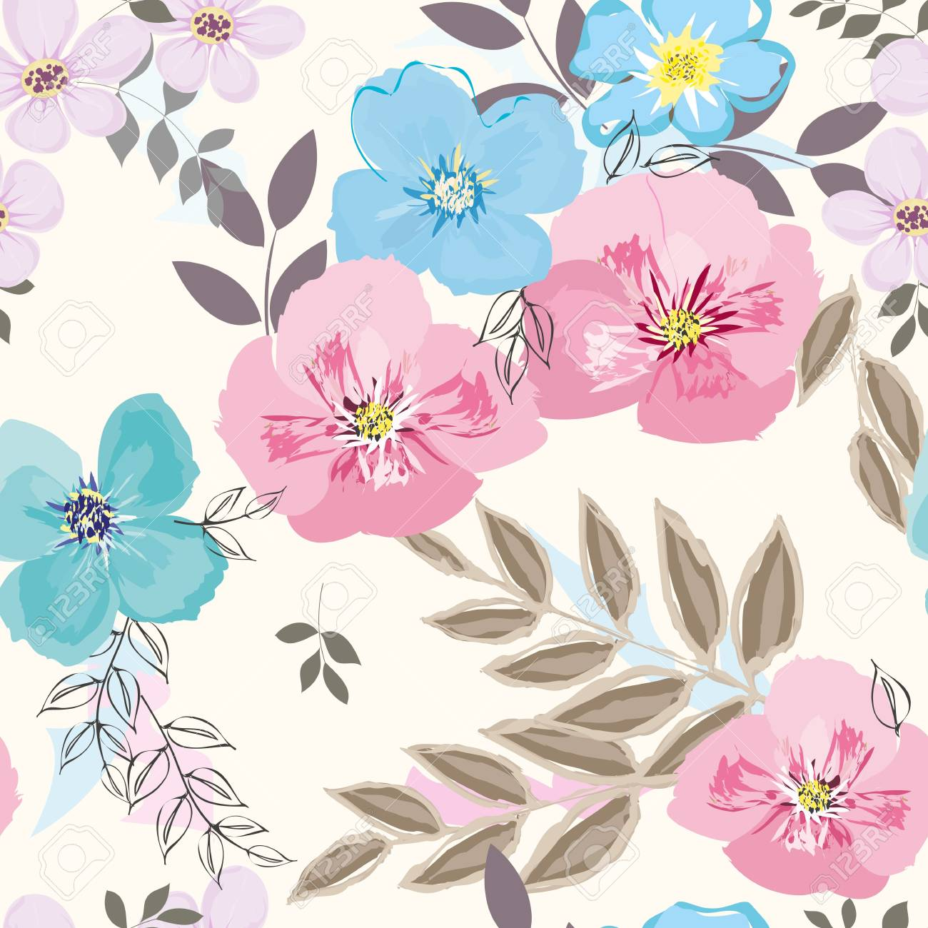 Abstract flower seamless pattern background - 95898098