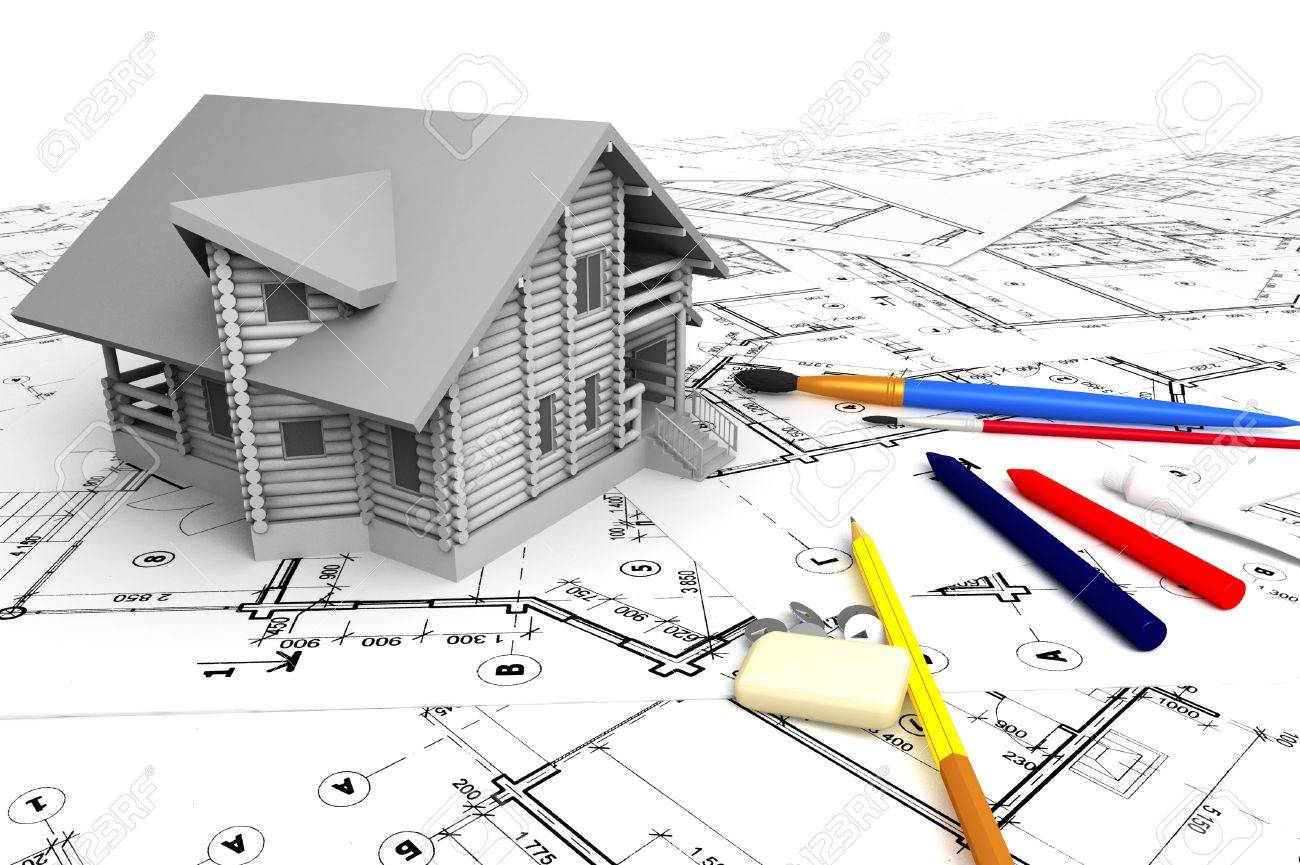 Wooden house on the drawings with stationery Stock Photo - 12291658