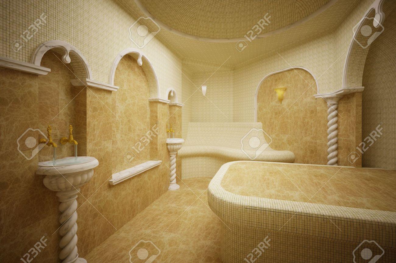 archivio fotografico hammam bagno turco in marmo e mosaici