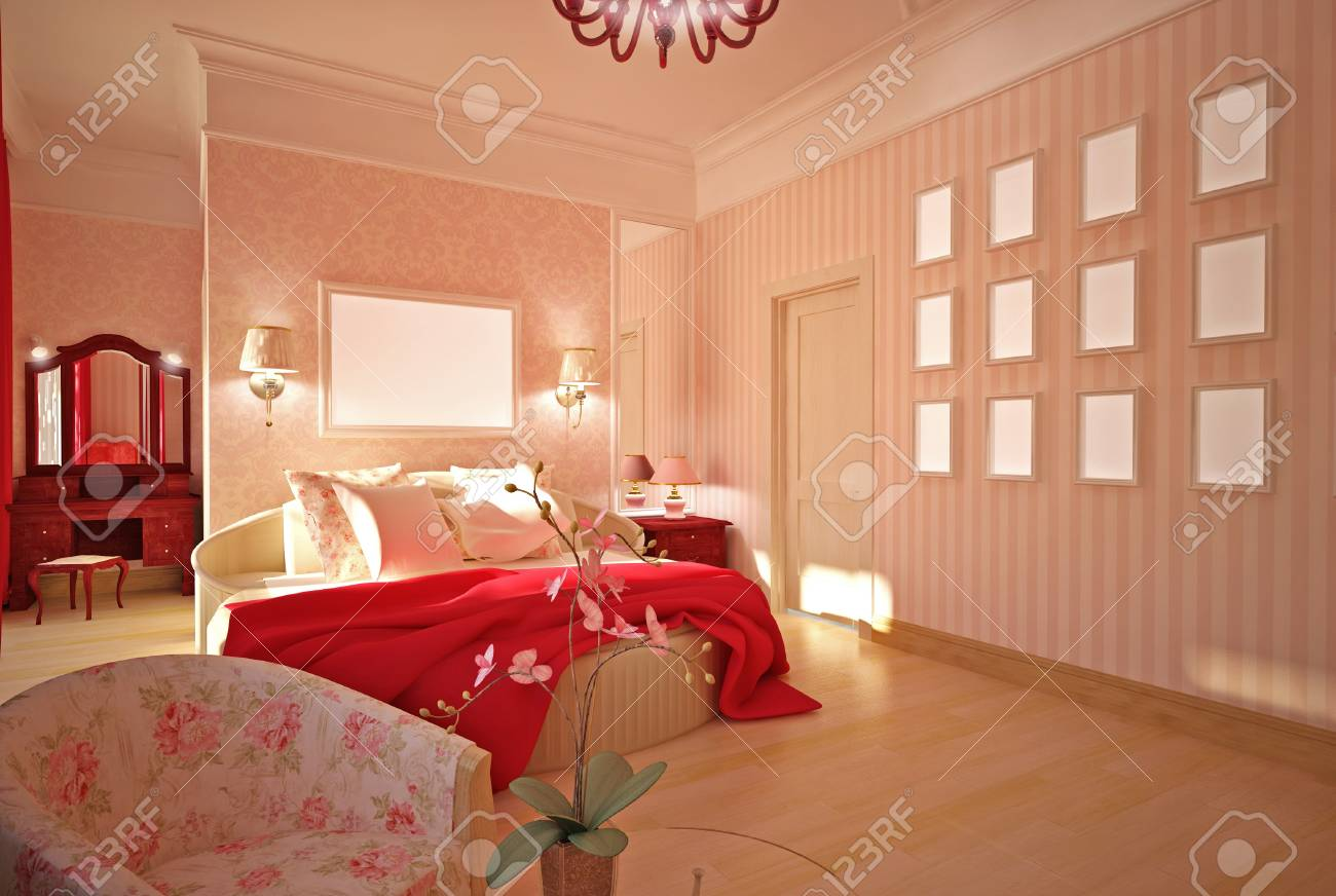 Bedroom in pink interior design Stock Photo - 14000666
