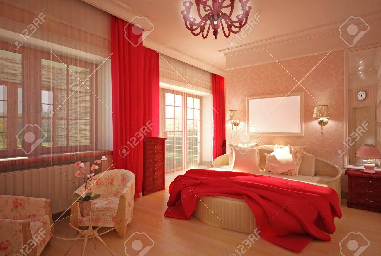 Bedroom in pink interior design Stock Photo - 14000668