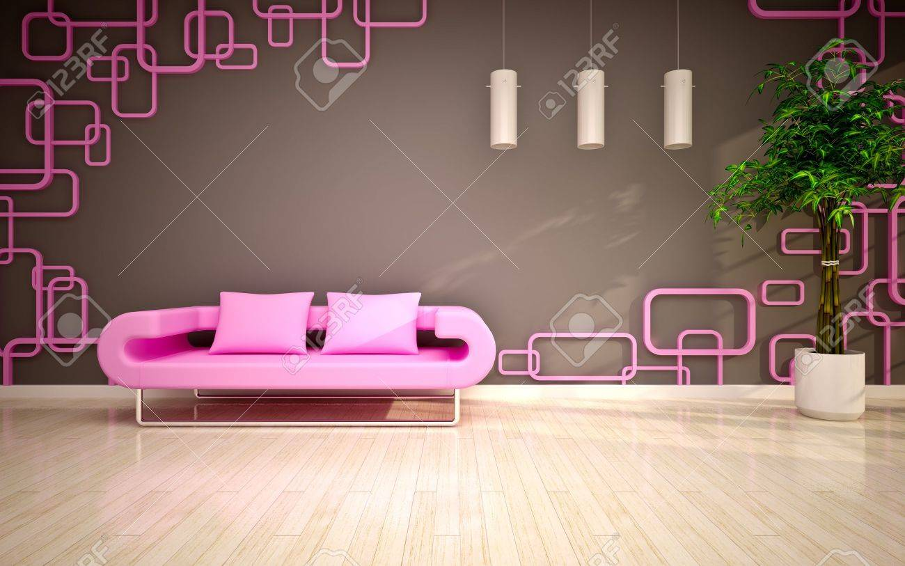 Pink Living Room Modern Living Room With Pink Sofa Stock Photo Picture And Royalty