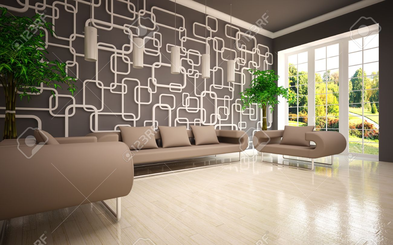 modern living room with beige sofa armchairs stock photo, picture