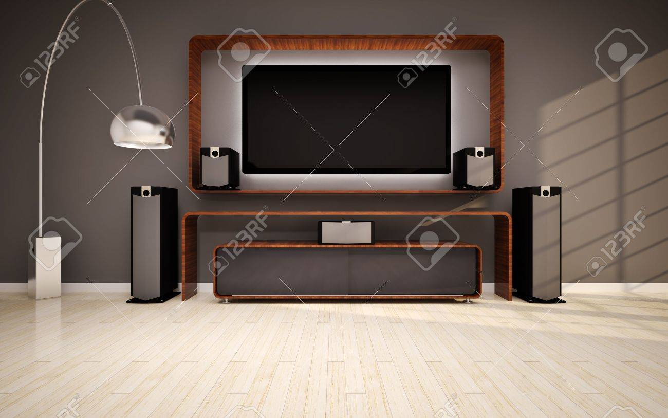 Modern Living Room With Home Cinema Stock Photo, Picture And ...