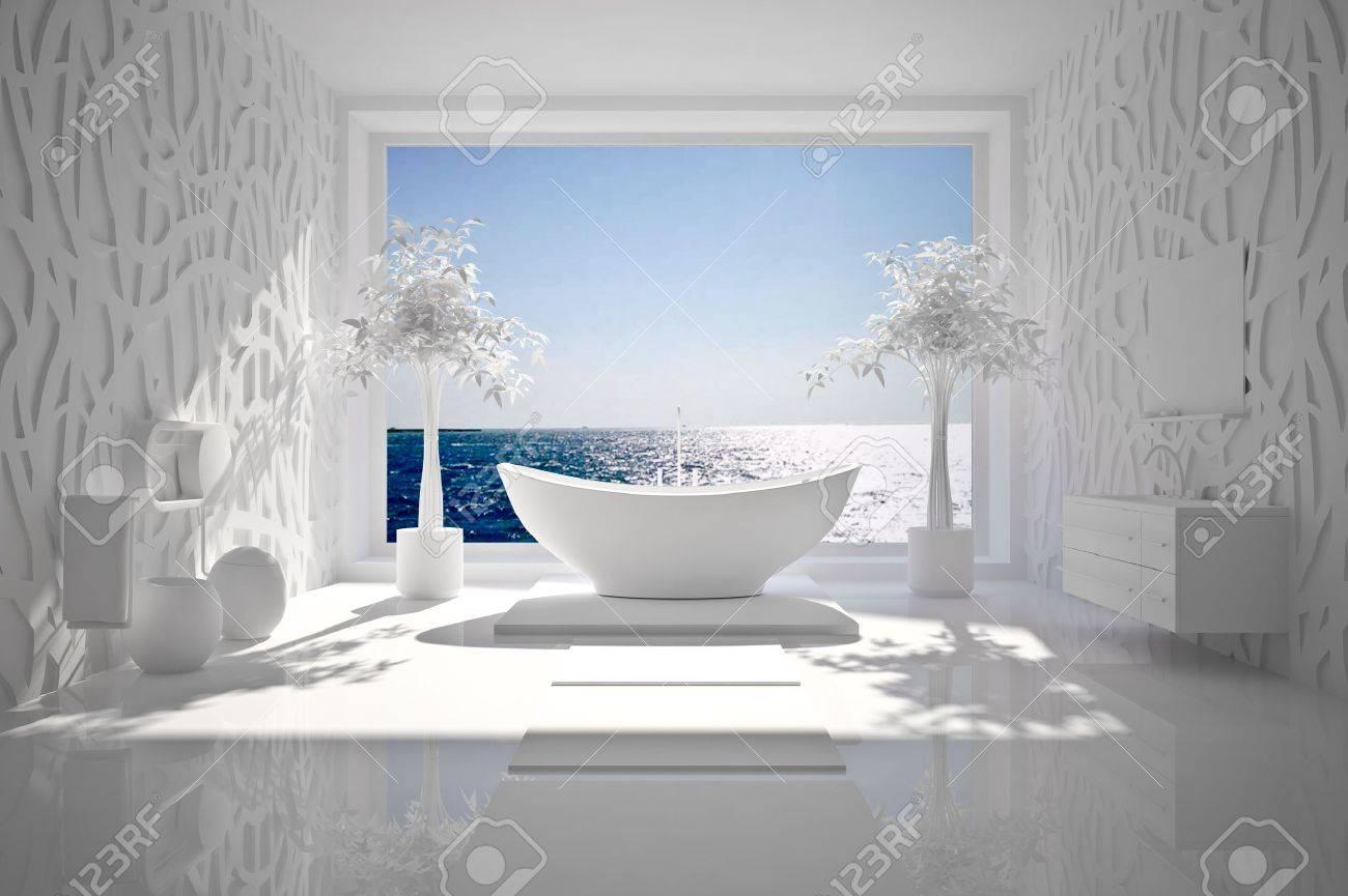 Salle De Bain De Luxe En Pierre ~ int rieur moderne de salle de bain avec vue sur la mer bw banque d