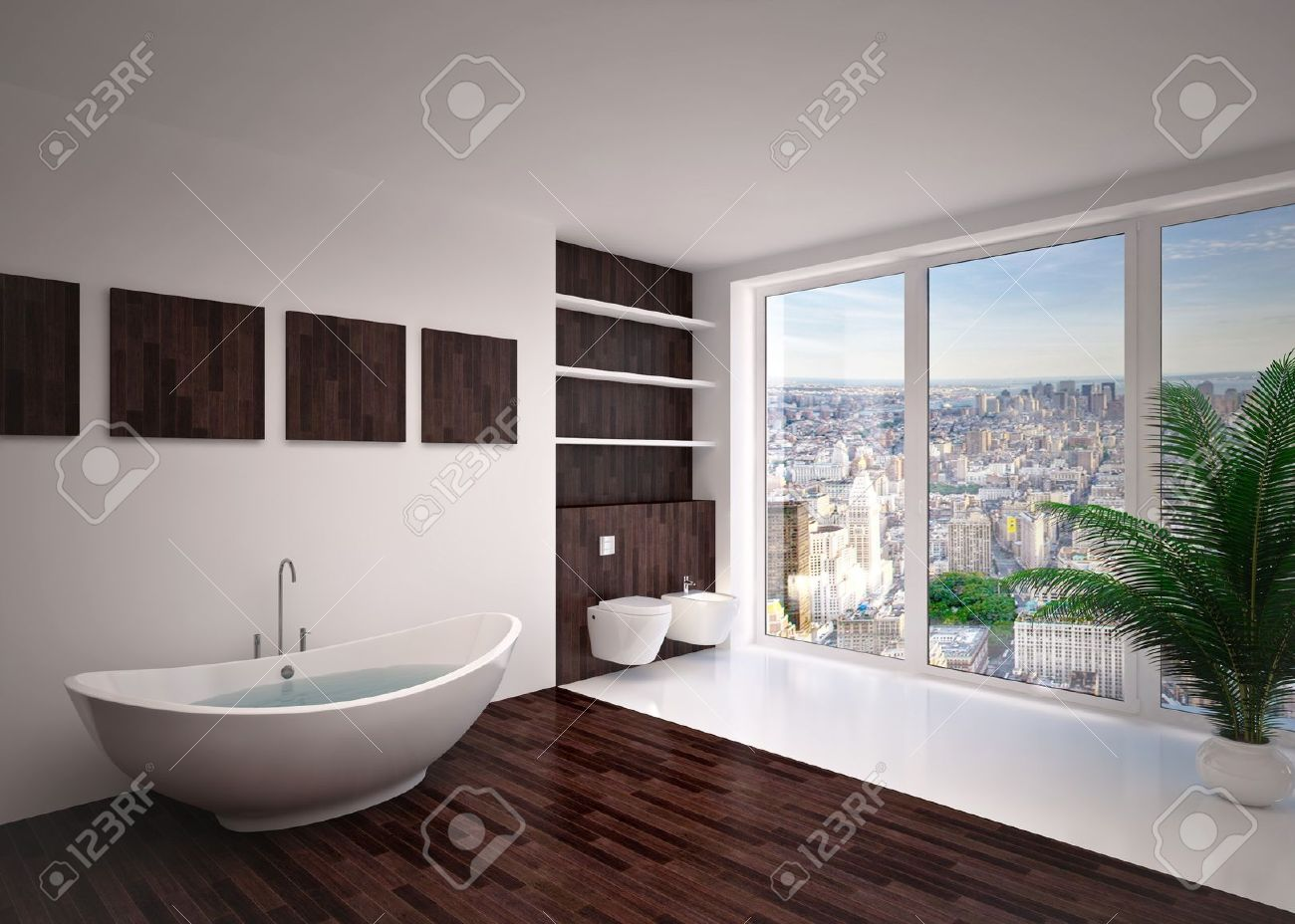 Modern interieur badkamer in huis appartement royalty vrije foto