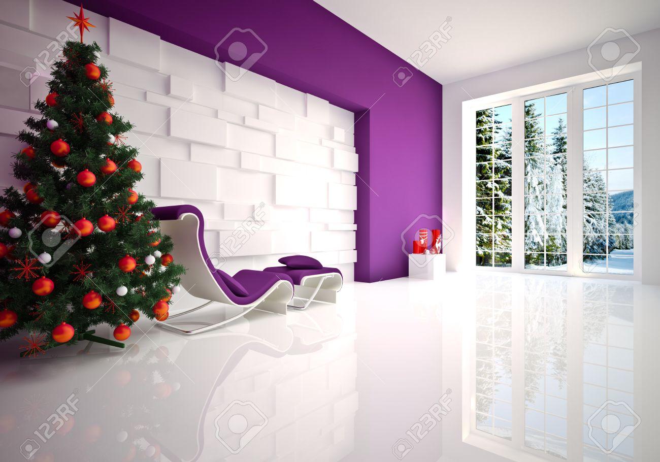 Weihnachten Moderne Lounge Entspannen Zimmer In Lila Tönen ...