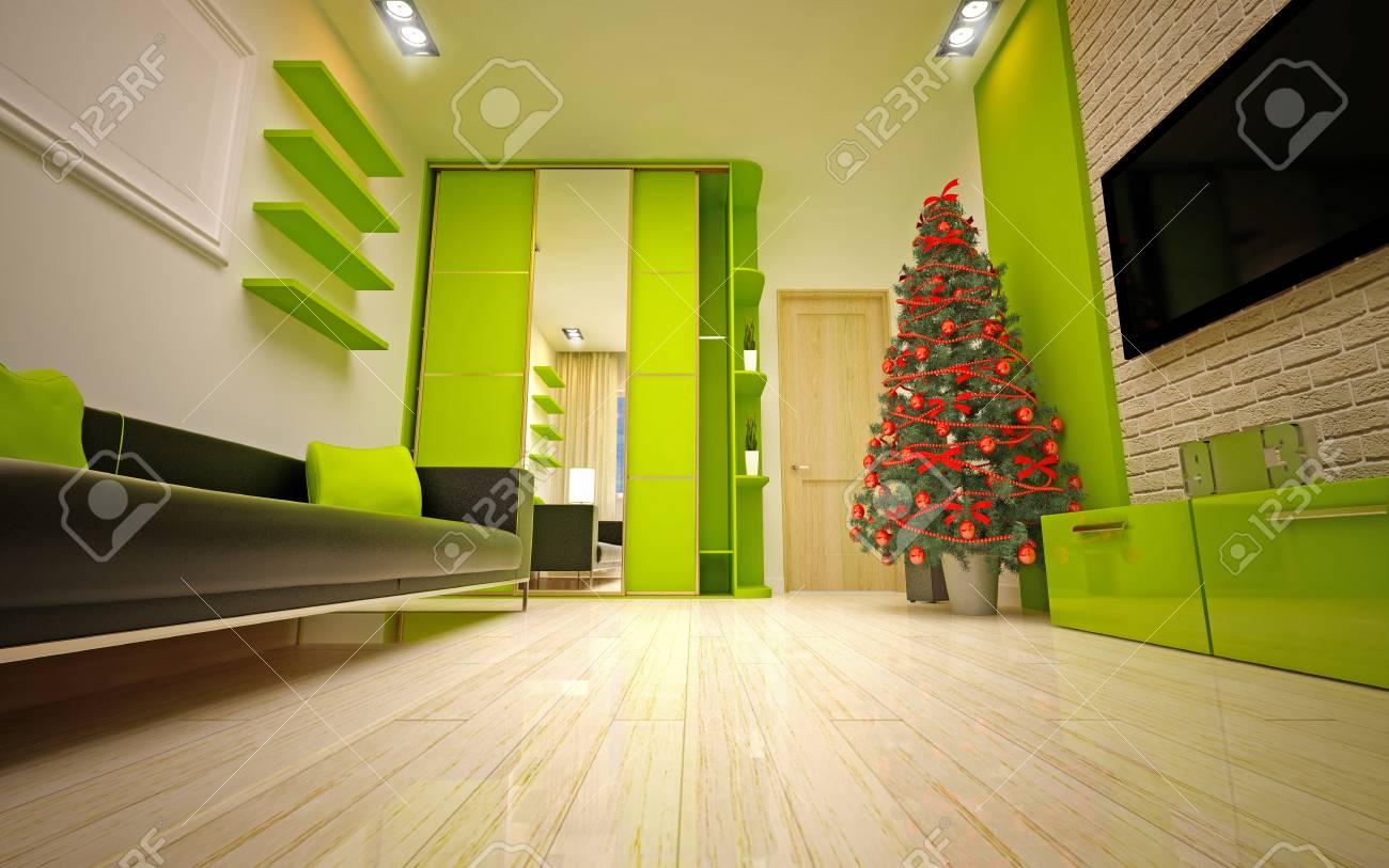 Christmas interior with  Christmas tree & sofa Stock Photo - 22923682
