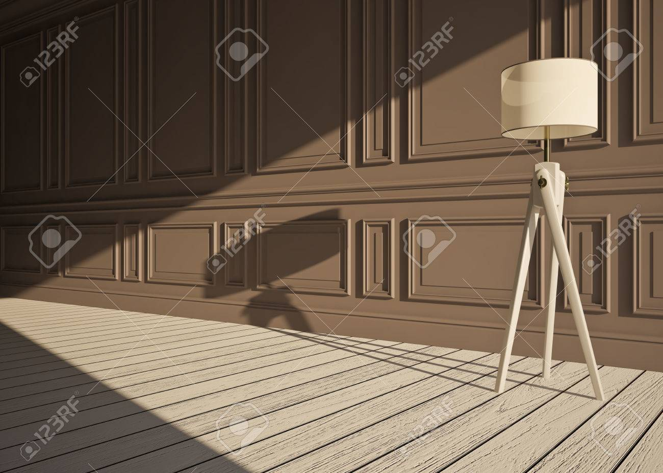 classic interior with  lamp and wall panels Stock Photo - 23956380