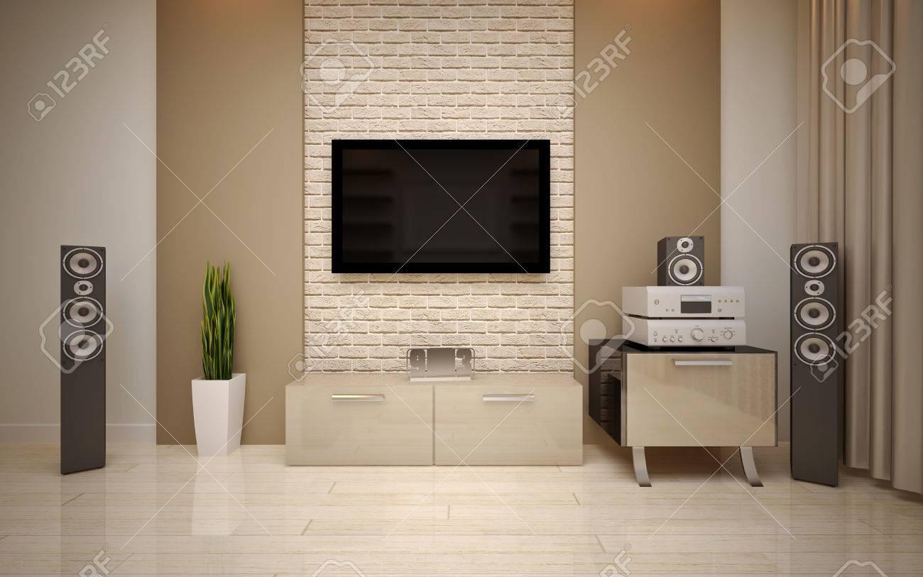 Moderne woonkamer lichte beige tinten royalty vrije foto, plaatjes ...