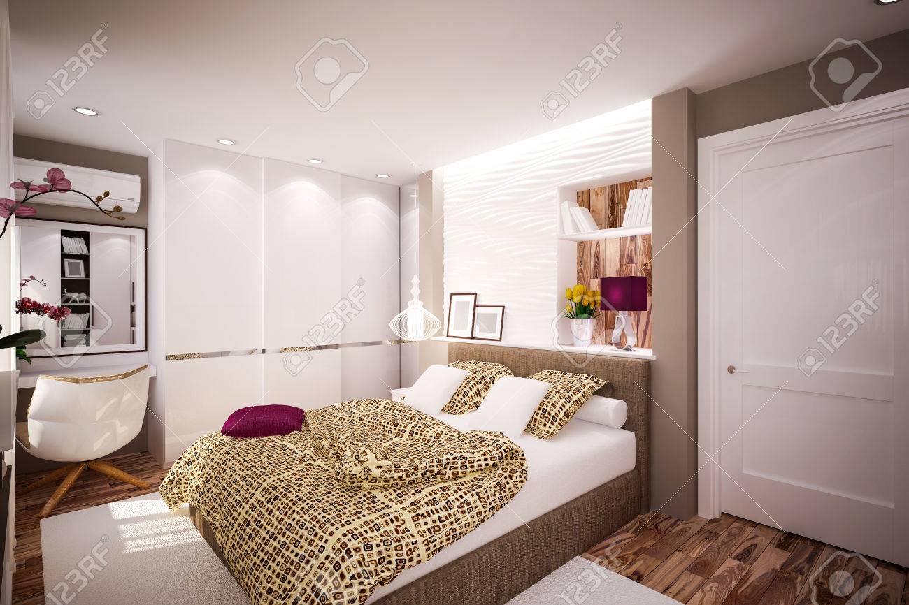 Interior Schlafzimmer Im Modernen Stil Interior Design Lizenzfreie ...