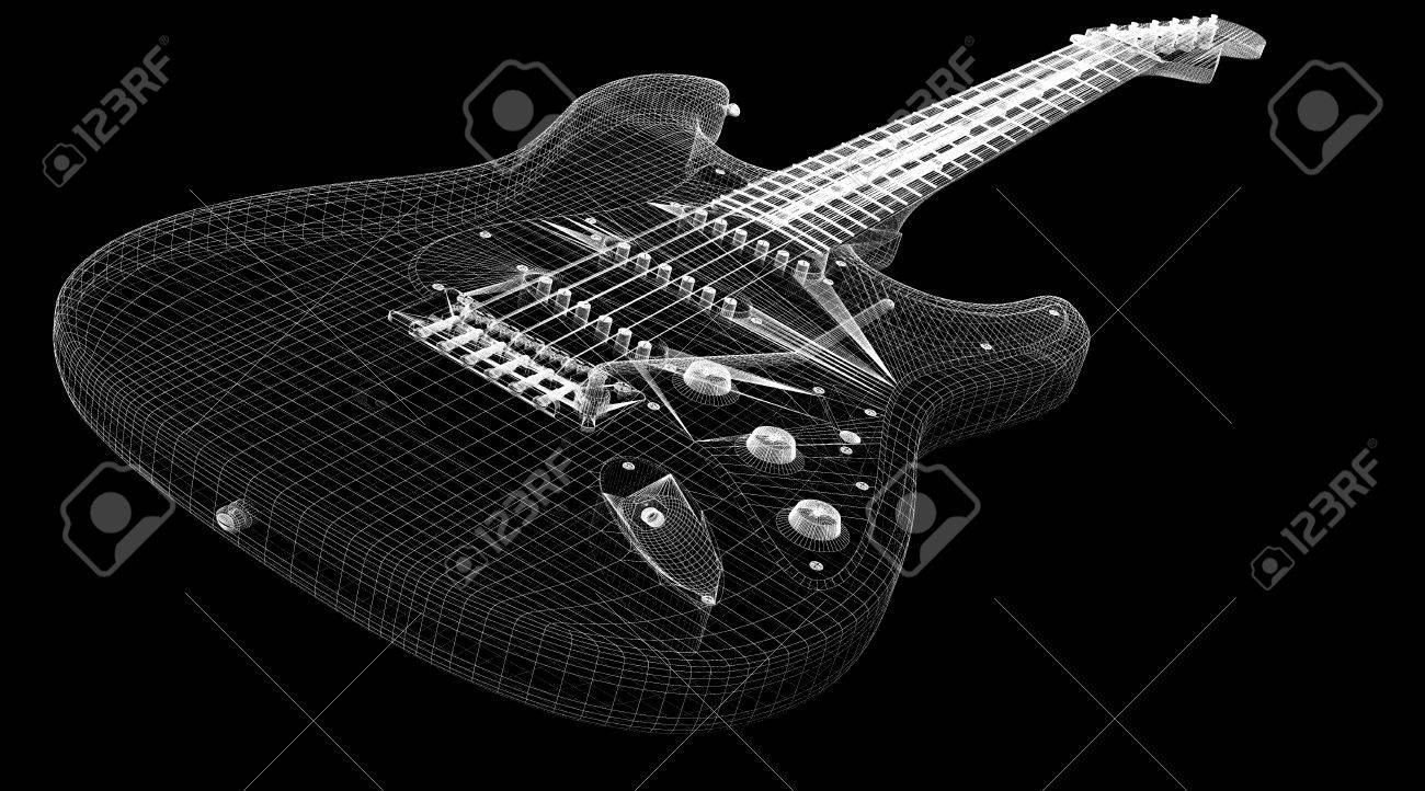 Electric Guitar 3d Model Body Structure Wire Stock Photo How To An 27645243