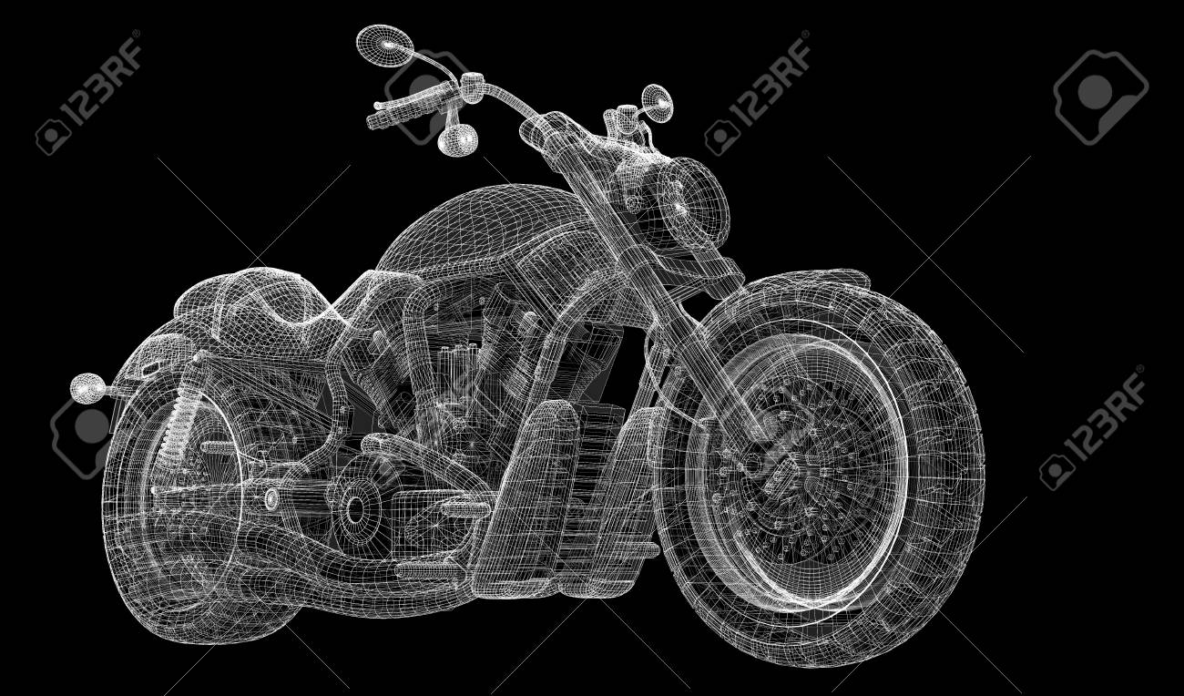 Motorcycle , Body Structure, Wire Model Stock Photo, Picture And ...