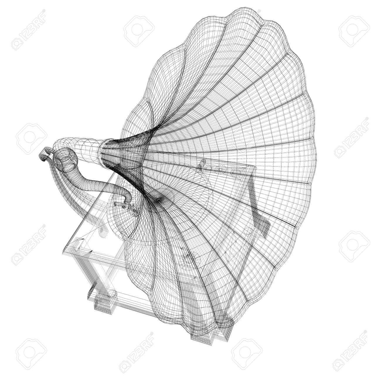 Gramophone 3D model body structure, wire model