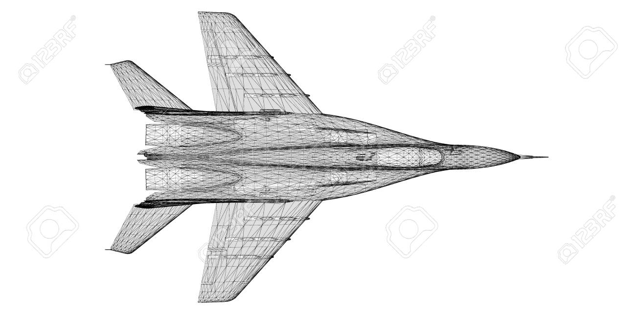Fighter Plane Model, Body Structure, Wire Model Stock Photo, Picture ...