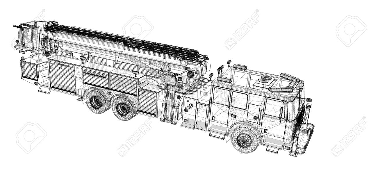 Fire Engine, Model, Body Structure, Wire Model Stock Photo, Picture ...