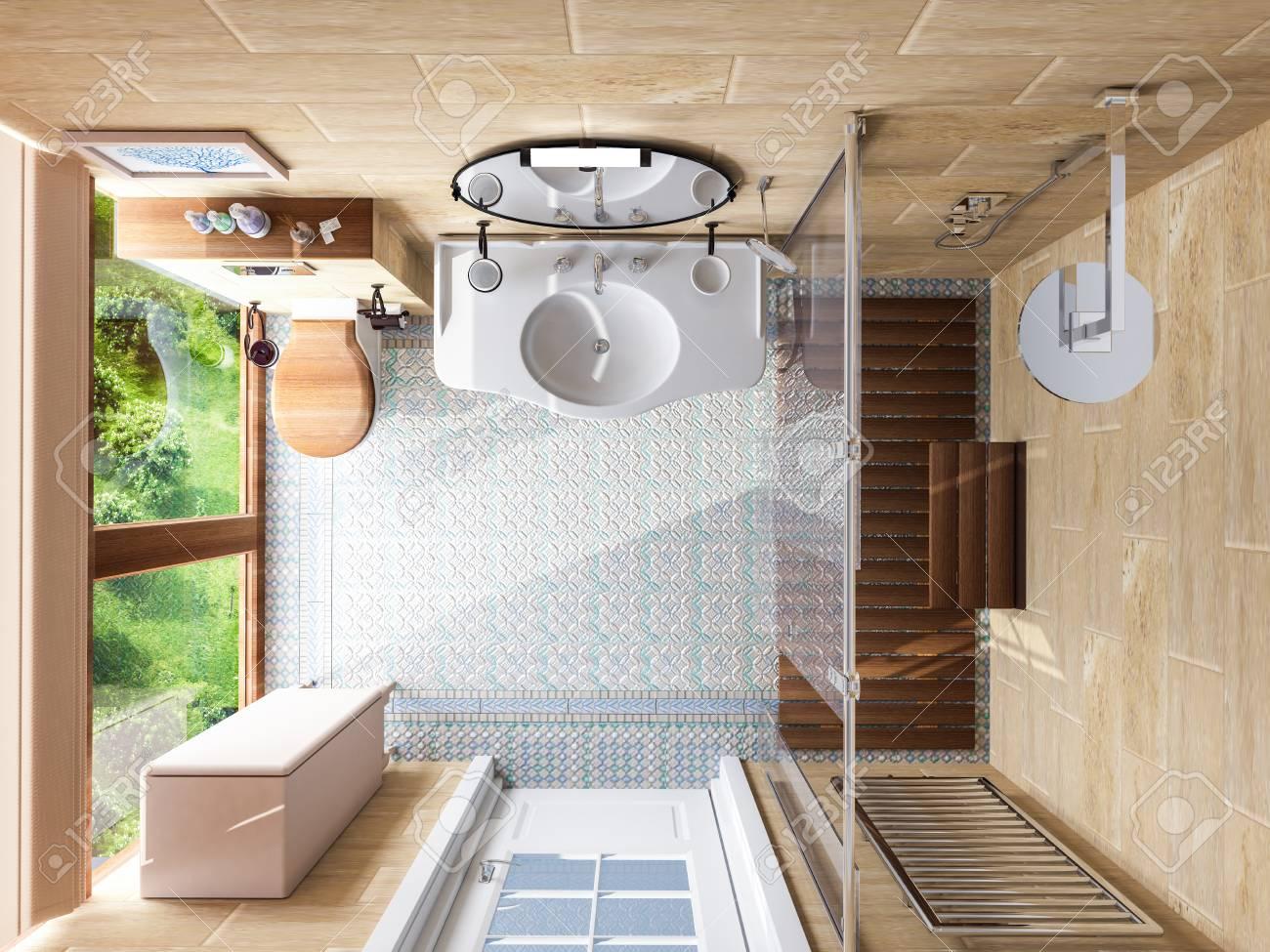Modelo interior del cuarto de baño. Ilustración 3D.