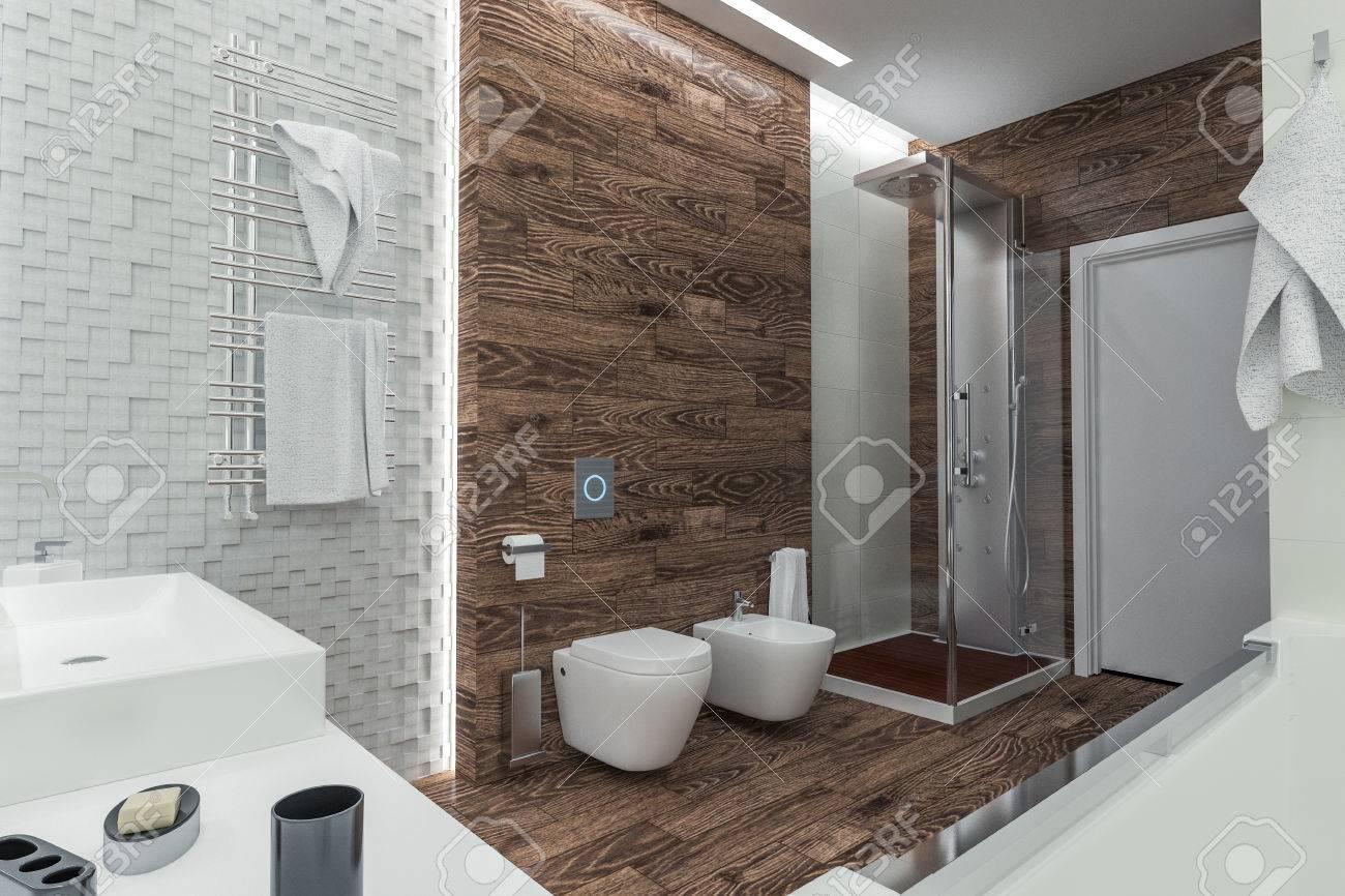 Diseño Moderno De Un Cuarto De Baño Con Ducha Fotos, Retratos ...