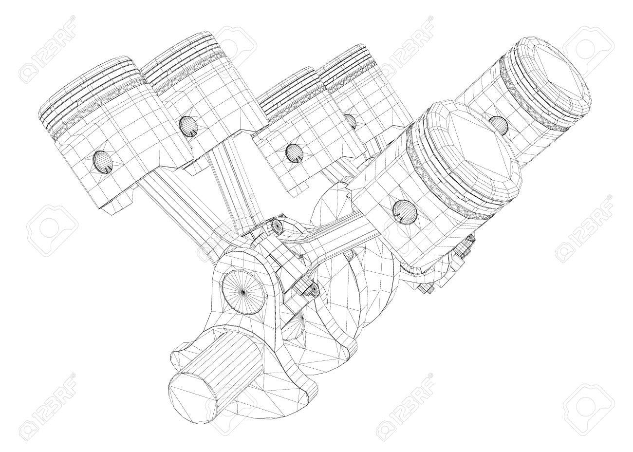 pistons, v8 engine, body structure, wire model stock photo, picture and  royalty free image. image 44163691.  123rf.com
