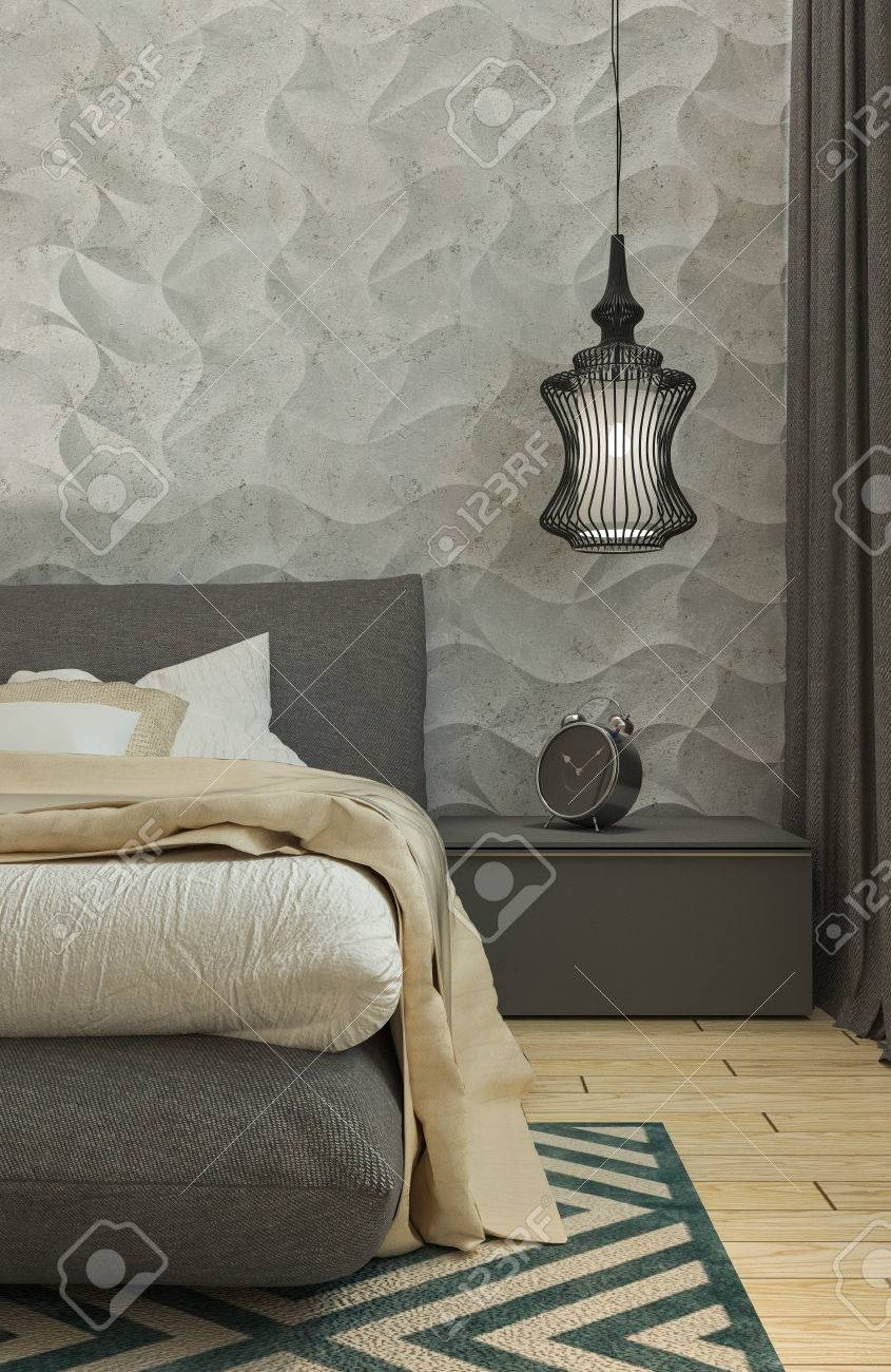 Master Bedroom With Dressing Room 3d Panels In A Modern Style Stock Photo Picture And Royalty Free Image Image 54086729