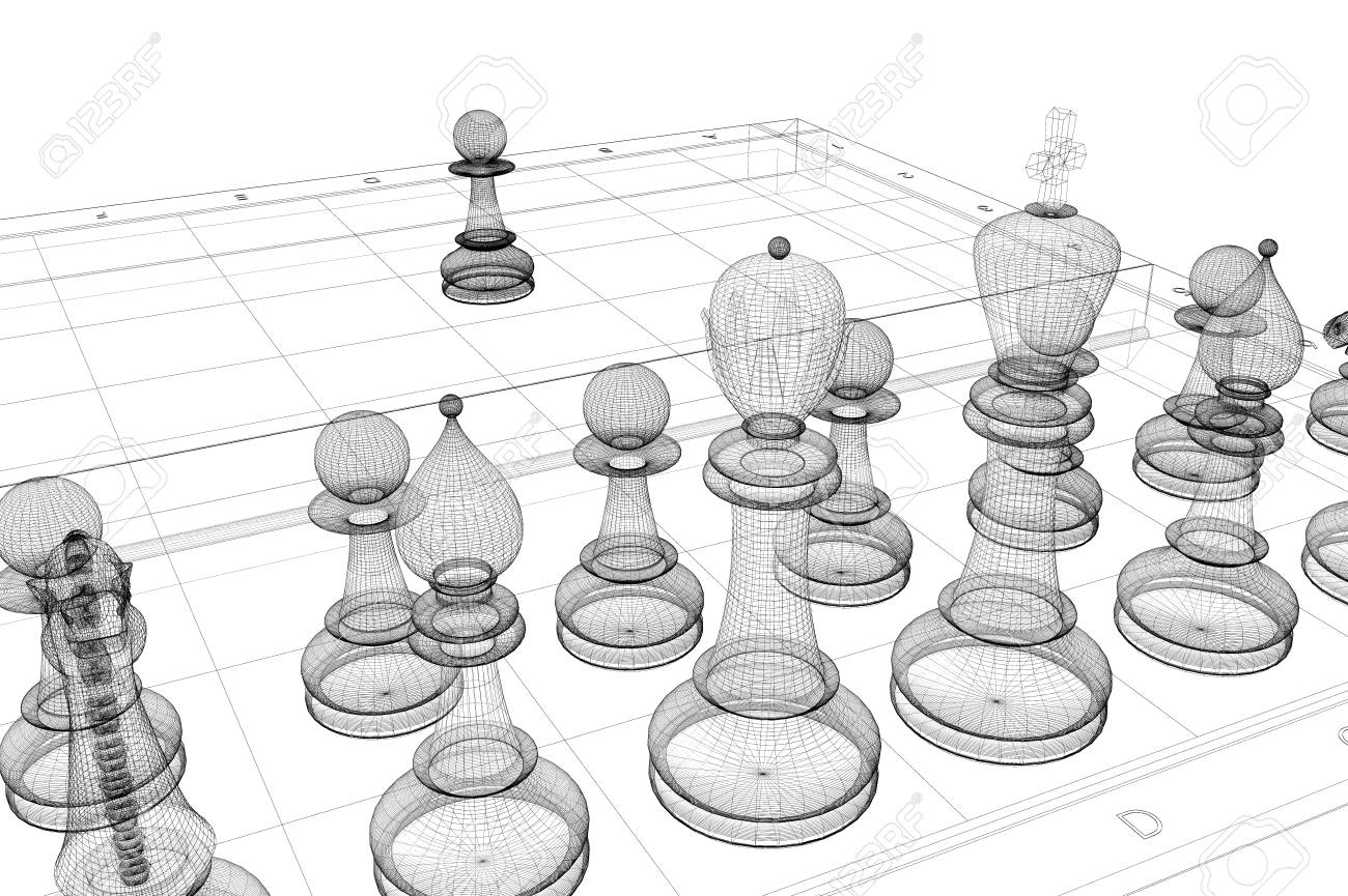 Game Of Chess On The Board, Frame, Wire Model Stock Photo, Picture ...