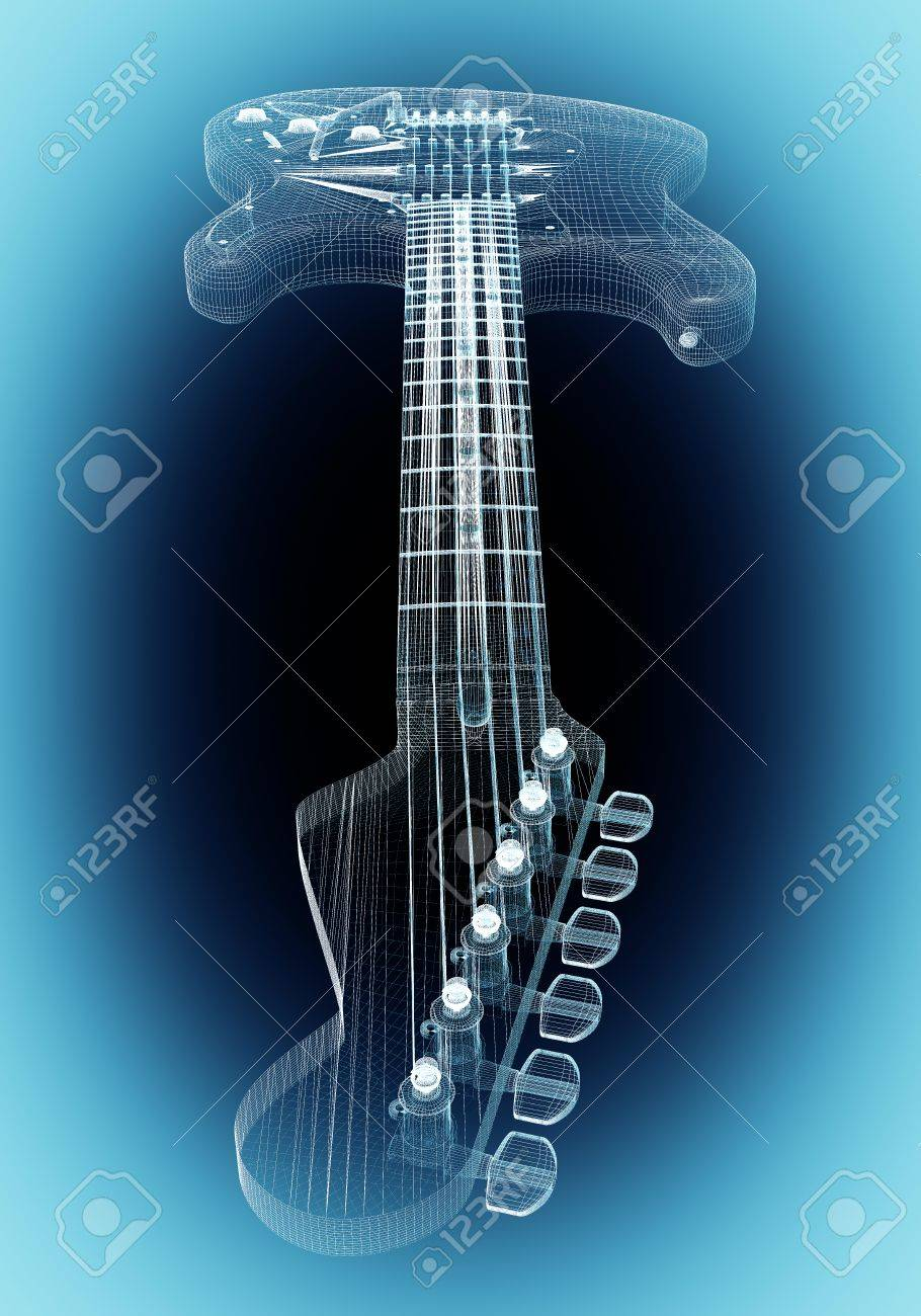 Electric Guitar 3D Model Body Structure, Wire Model Stock Photo ...