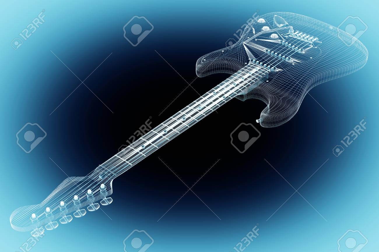 Electric Guitar 3d Model Body Structure Wire Stock Photo How To An 58421347