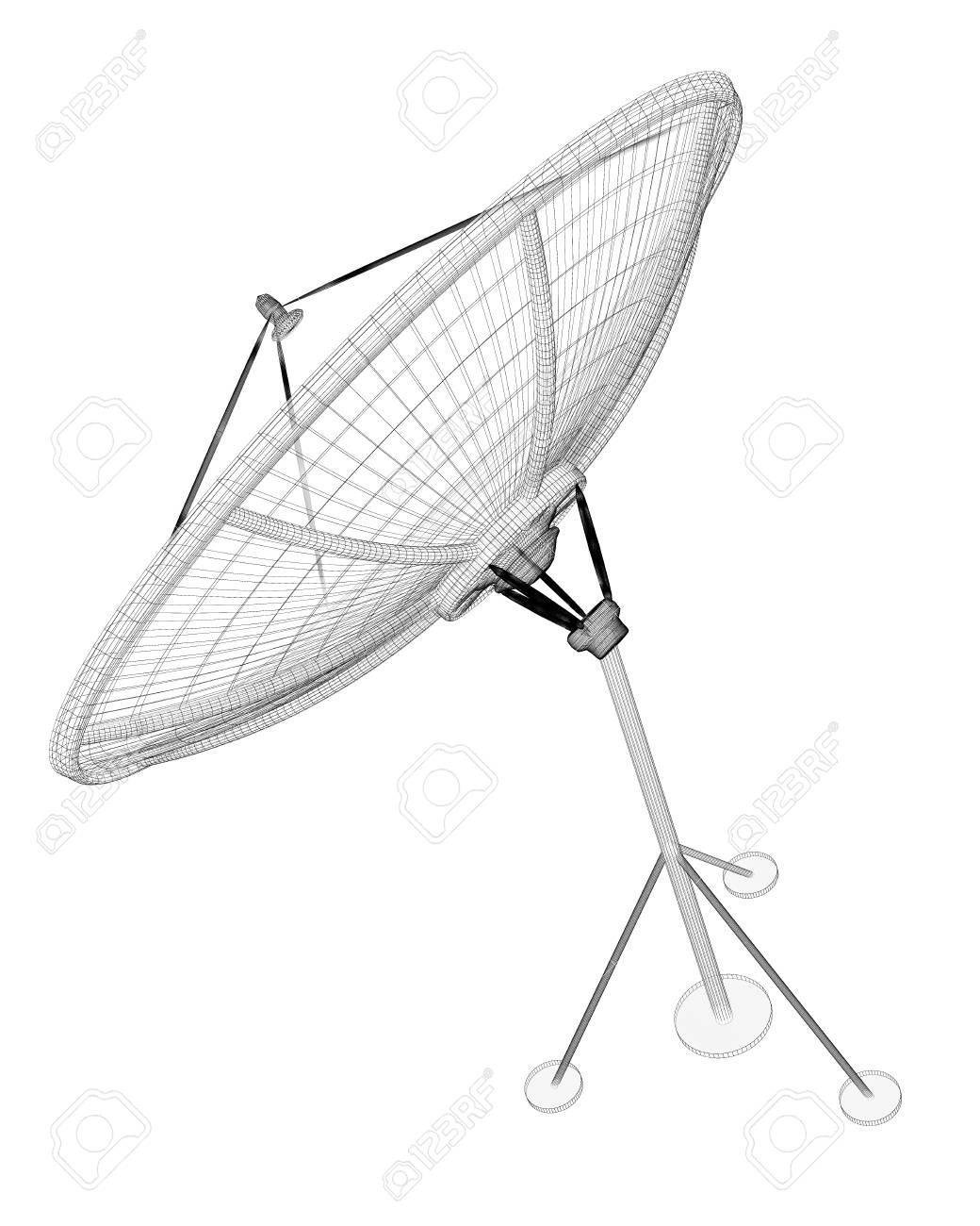 satellite tracking system, satellite dish on the background