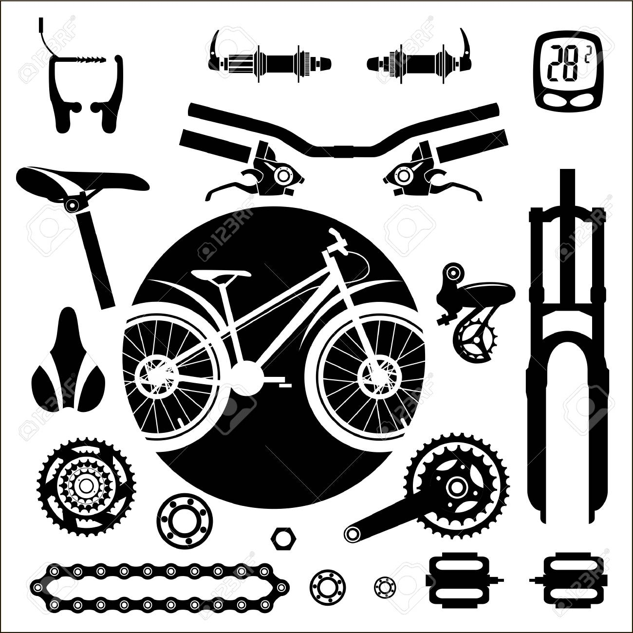 Bicycles A Set Of Bicycle Parts Vector Royalty Free Cliparts