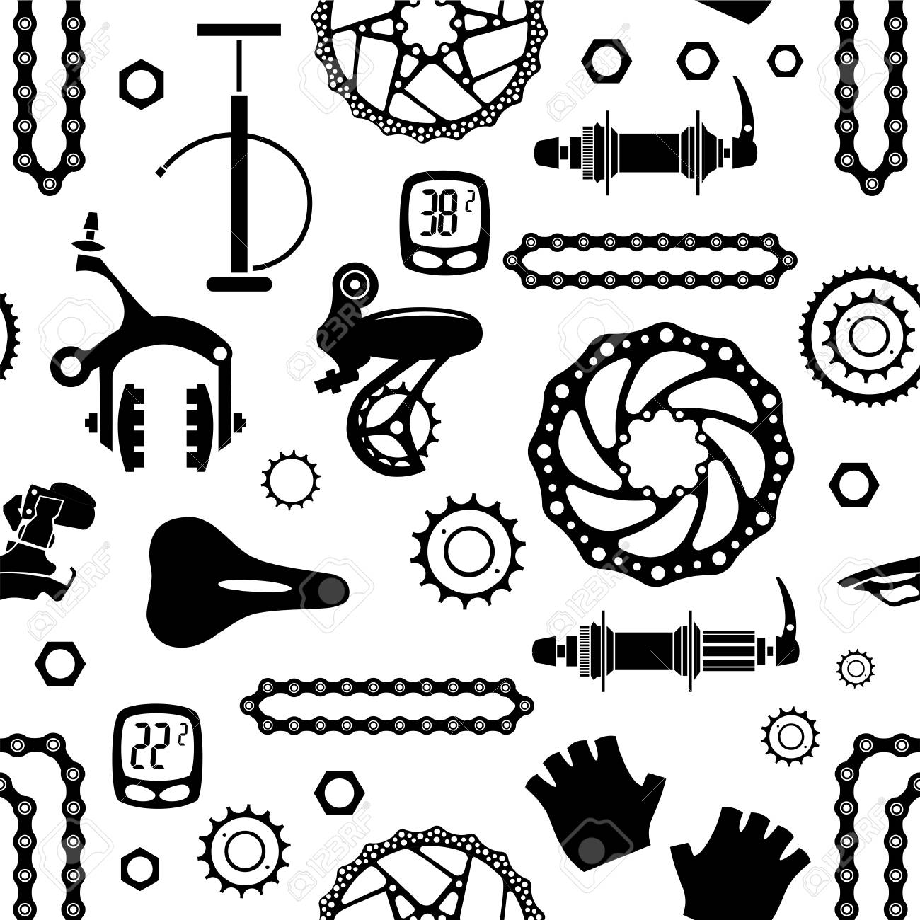 Bicycles Seamless Vector Pattern With Bicycle Parts Royalty Free