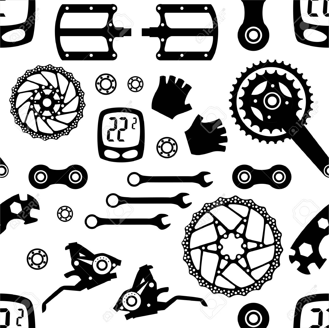 Bicycle Parts Seamless Pattern Vector Illustration Royalty Free