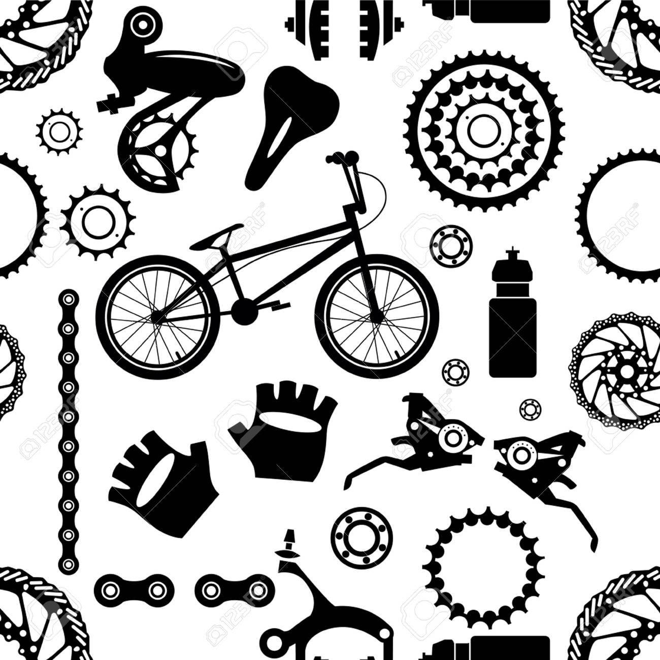 Bike Bicycle Parts Seamless Pattern Royalty Free Cliparts
