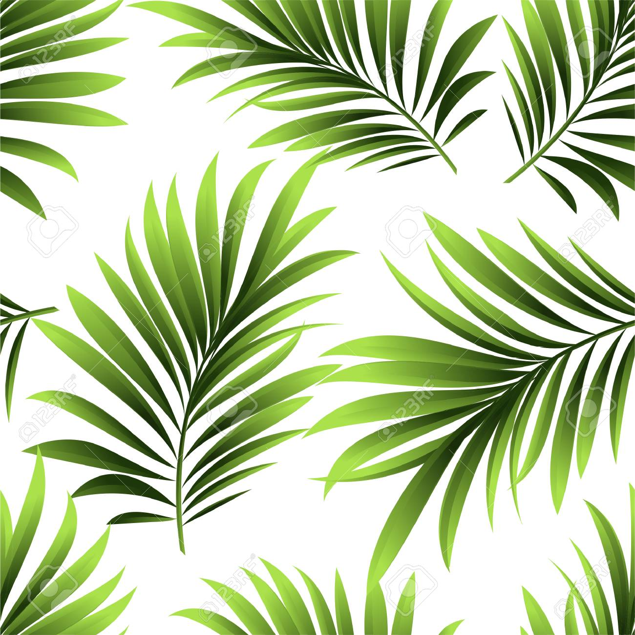 Seamless Pattern With Fresh Green Tropical Palm Tree Leaves And Royalty Free Cliparts Vectors And Stock Illustration Image 84855208