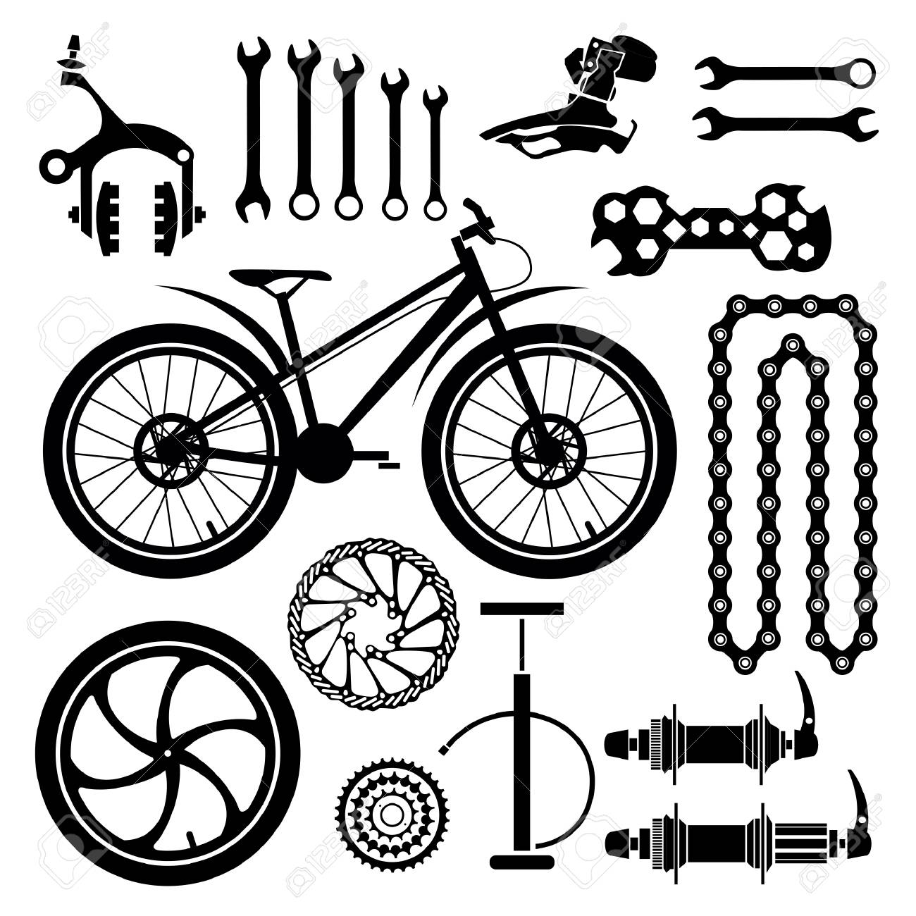 Bicycle Parts Vector Set Royalty Free Cliparts Vectors And Stock