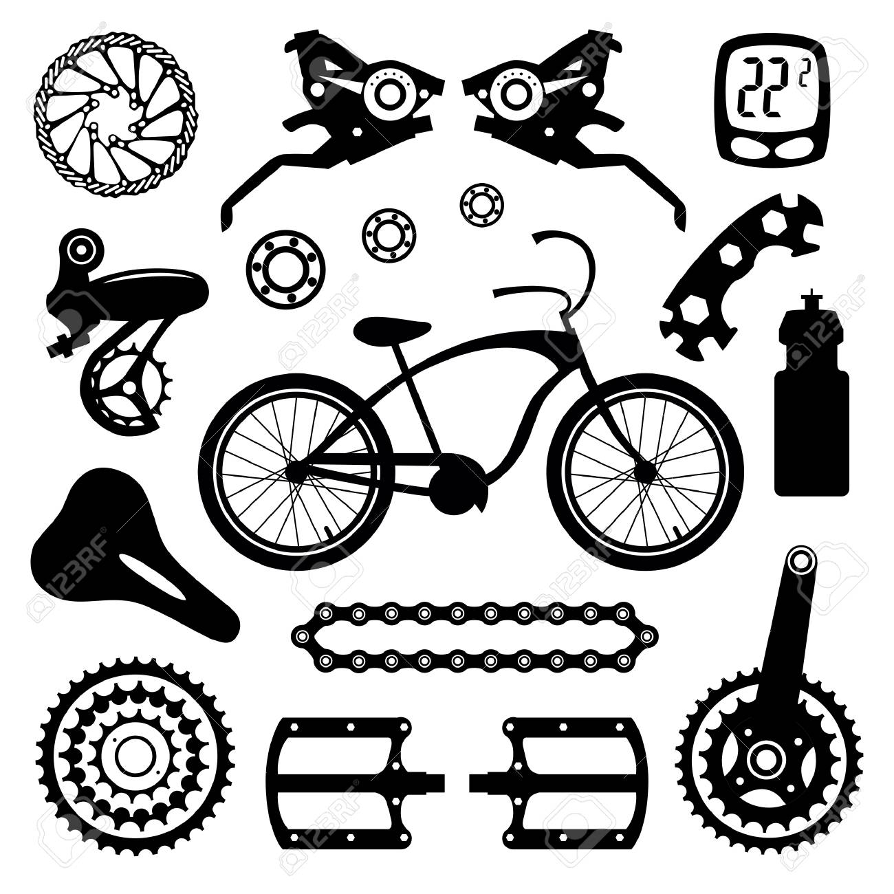 Bicycles Set Of Bicycle Parts Royalty Free Cliparts Vectors And
