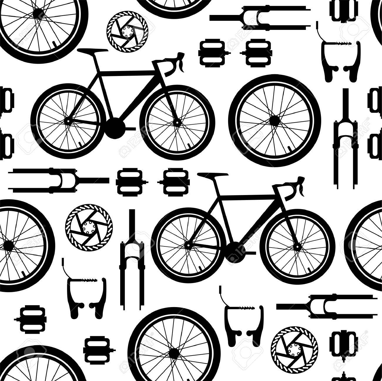 Bicycles Spare Parts Seamless Vector Pattern Royalty Free