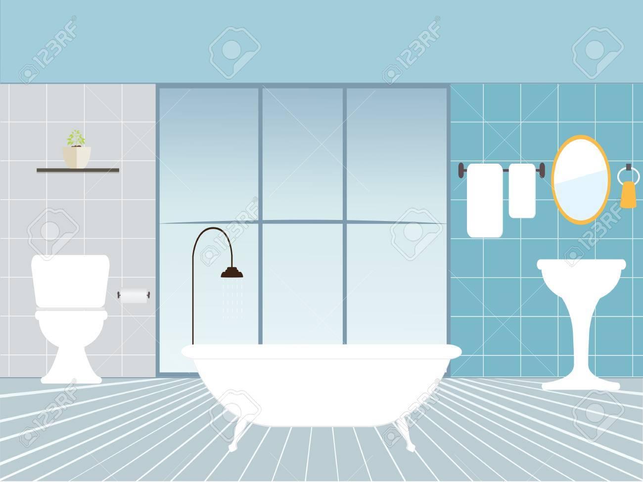Flat design vector illustration of modern bathroom interior with..