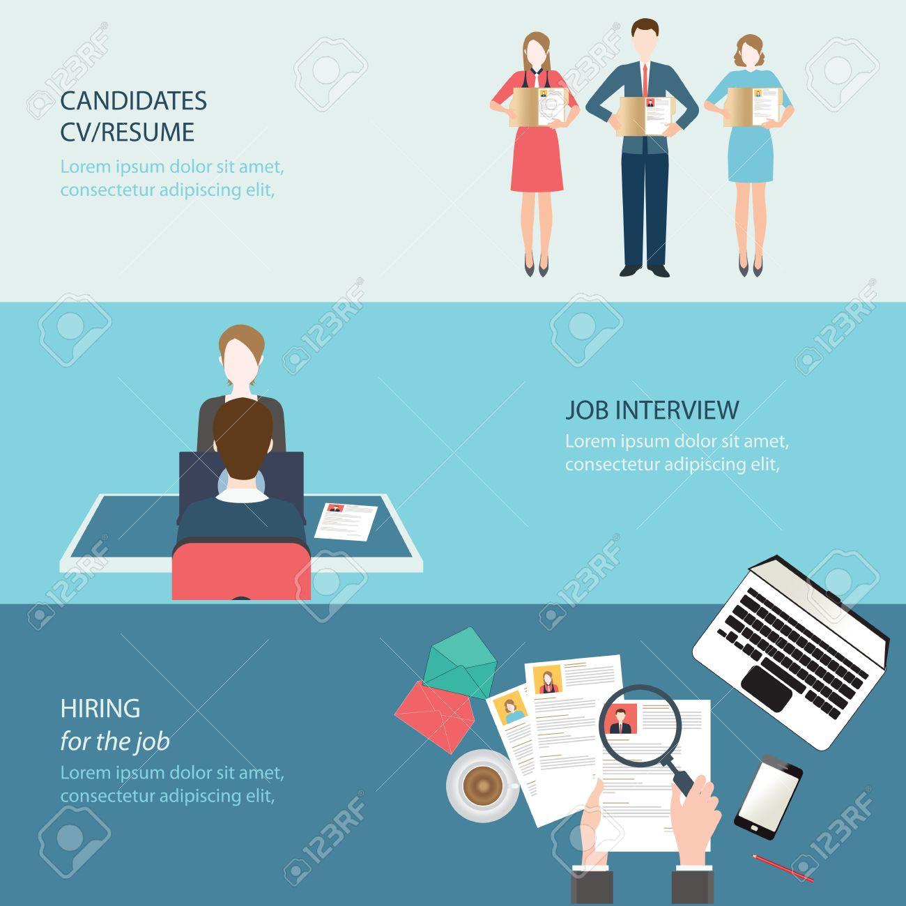 recruitment flat banner set job search job interview hired recruitment flat banner set job search job interview hired the job conceptual